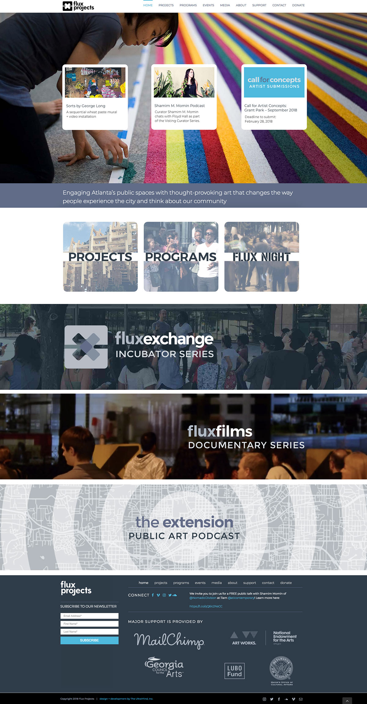FluxProjects.org web site design and development home page